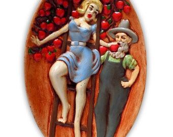 1972 Folk Art The Naughty Apple Farmer and Woamn with the Blue Dress On the Ladder
