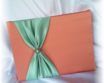 Tangerine and Mint Wedding Guest Book, Orange and Mint Wedding Guest Book