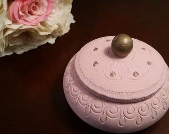 Pink Wooden Trinket Box  ON SALE