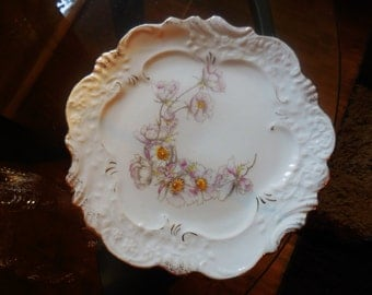 PLATE, Sandwich Dish, Salad Dish, Bread and Butter Dish, 8-1/2 inches dia. Pink poppies, VINTAGE