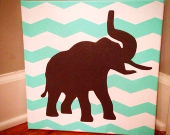 12 x 12 canvas with chevron stripes and elephant