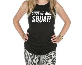 Shut Up And Squat Racerback Gym Vest Tank Top Activewear Gym Yoga Fitness Workout