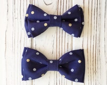Navy with gold polka dot bowtie-daddy and son matching bow tie -baby-little boy bowties-Navy polka dot bow - dog bowties -