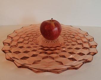 Vintage Jeannette Cubist 3 Footed Pink Depression Glass Cake Dessert Platter Plate Server