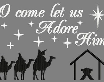 Buy 3 get 1 free! O come let us adore Him embroidery design, Christmas, Jesus