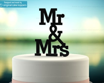 "Wedding Cake Topper - ""Mr & Mrs"" - BLACK - OriginalCakeToppers"