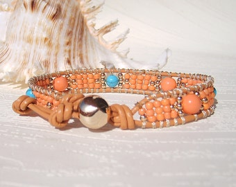 Coral and Turquoise Wrap Bracelet Beaded Leather Bracelet Beach Bracelet Single Leather Wrap Bracelet Boho Jewelry Leather Bracelets Women