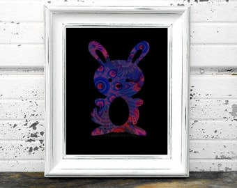 Bunny Print,#floral,#Flowers,#Pink,#Blue, #Rabbit,#Nursery,#Blacklight,#Floral, #Funky,#Art, #Hippie, #Infant,#Baby, #HomeDecor, #Whimsy
