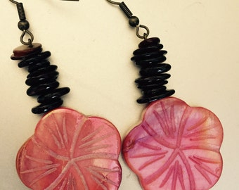 Brown and pink hibiscus dangle earrings