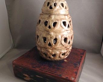 Vintage Glazed Stoneware Candleholder with lid