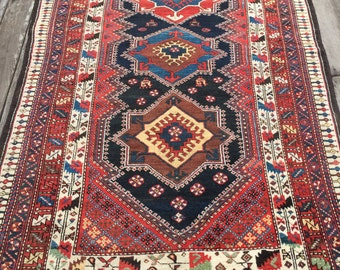 Antique Persian Rug 4.5' x 7' Luri Tribal Art C.1910