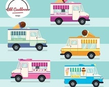 75% OFF SALE Vintage ice cream trucks clipart commercial use, ice cream clip art, scrapbooking, vector clipart, vector graphics