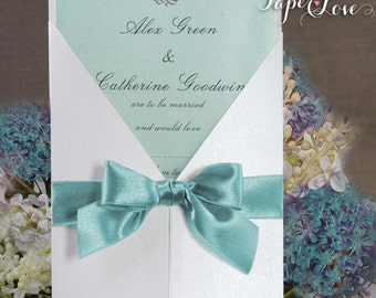 Large Butterfly Seal Simple Wedding Day / Wedding Evening Invitation Multiple Colours Gatefold Personalised Blue