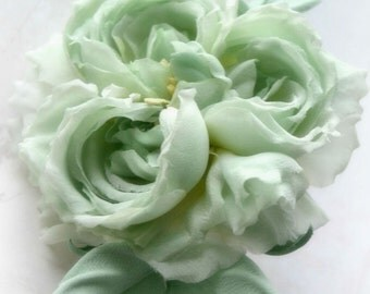 Mint Silk Flower Corsage Old English Rose, silk rose brooch, hat accessories, dress hair wedding accessories. Christening Bridal flower