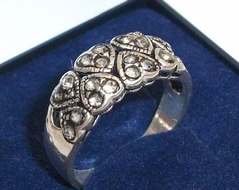 Antique silver ring with heart 925 GR 18.8 SR338