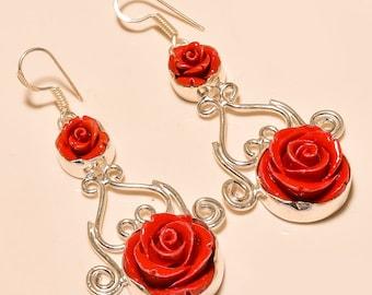 Red Rose Earrings, Flower Earrings, Italian Coral Earrings, Gift Earrings .925 Silver Dangle Earrings Jewelry