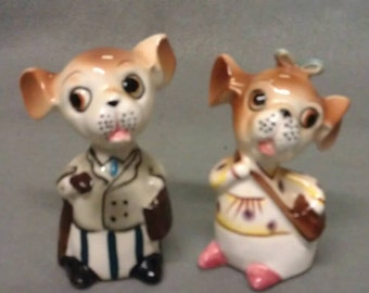Brown and Beige Mice Rats with Pink Lips Salt and Pepper Shaker Set