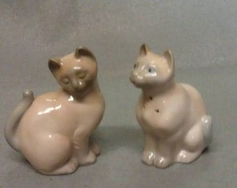 Grey and Tan Cats Salt and Pepper Shaker Set