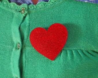 Love Heart Brooch - Red Glitter, Red Heart Brooch, Heart Brooch, Glitter Brooch, Heart Badge, Sparkle Heart Pin, Rockabilly Brooch
