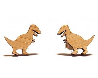 T-Rex Dinosaur Bamboo Stud Earrings, Dinosaur Studs, Dinosaur Earrings, T-Rex Stud Earrings, T-Rex Studs, T-Rex Earrings, Tyrannosaurus Rex
