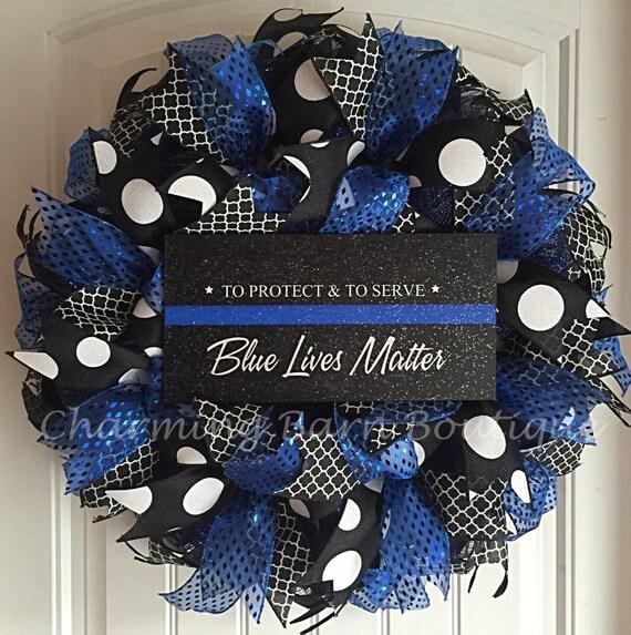 Police wreath blue lives matter wreath blue lives matter for Decor matters