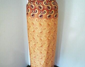 Peach and Brown Ankara Lapa, Ankara Wrap Skirt,  African Wax Maxi Skirt - Made to Order