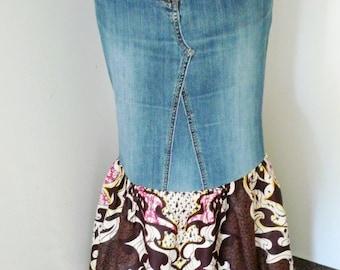 Veronica Brown and Cream Flames  African Wax and Denim Maxi Skirt, Long Skirt, Dashiki Skirt