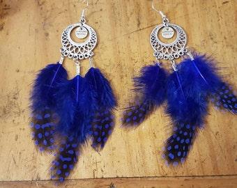 Drop feather earrings