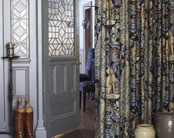 William Morris and Co Forest Luxury Linen Door Curtain Velvet Lined