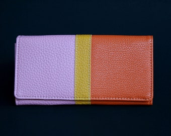 Womens Wallet, Leather Wallet, Orange Wallet, Purple Purse, Orange Wallet, Pink Purse