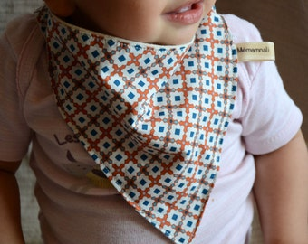 Bib bandana bio, adjustable bandana, organic cotton bandana, organic teething bib, blue orange bib, reversible bib, bib baby bio