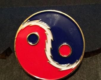 Red & Blue Yin Yang hat pin