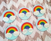 12 Fondant rainbow cupcake toppers