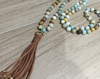 Amazonite long beaded necklace with brown tassel necklace under 40 free shipping
