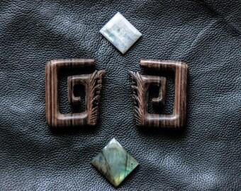 SALES !!Original Wood Ear Plug - Tribal - Organic - Mystic - Shamanic - Gypsy - Ethnic - Unique Design