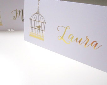 """Wedding Place Cards Table Decoration """"Bird in a Cage"""" - Gold print - Pack of 10"""