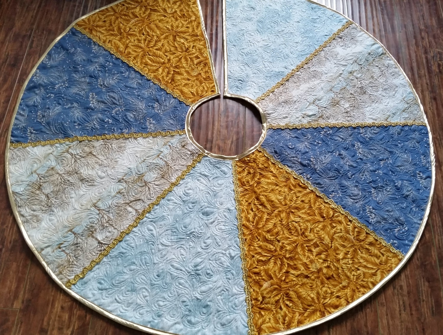 Christmas Tree Skirt Quilted Blue Gold Silver Gold