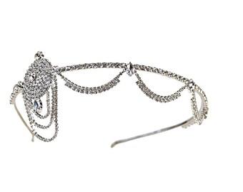 1920's Deco Era Great Gatsby Inspired Flapper Rhinestone Headpiece Tiara - Style 4402S