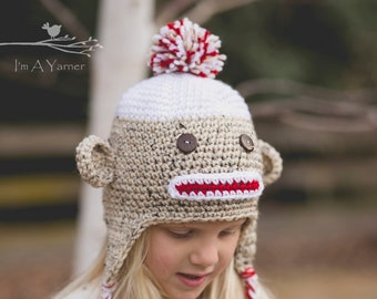 Sock Monkey Hat, Monkey Hat, Crochet Hat, Crochet Sock Monkey, Sock Monkey Baby Shower, Baby Sock Monkey Outfit, Baby Boy Beanie, All Sizes