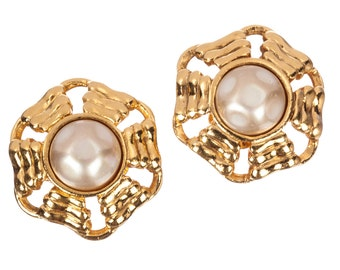 Chanel Gold Tone and Faux Baroque Pearl Cabochon Earrings