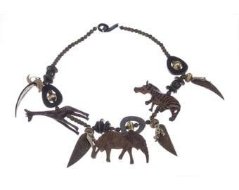 African Wood Safari Bead Charm Necklace