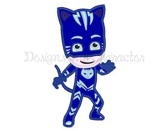"""Blue Cat Pyjama Boy  applique machine embroidery design- 3 sizes 4x4"""", 5x7"""", 6x10"""""""
