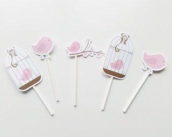 5 Birds Cupcake toppers  Birds Party  Decor