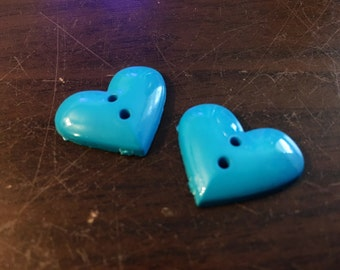 2 Heart Shaped Buttons: Blue