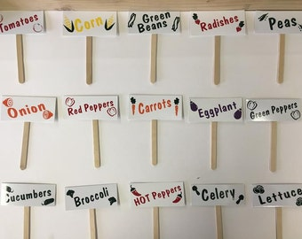 FREE SHIPPING!! 15 Different Vegetable garden labeled stakes made with aluminum,wooden sticks,and sign vinyl