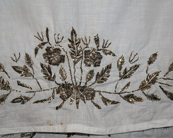 Antique Ottoman Gold Thread Embroidered Runner, Turkey, Antique Textile, Middle East