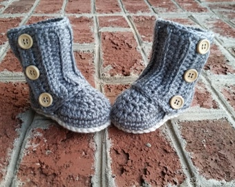 READY TO SHIP Crochet Baby Uggs, Infant Boots, Crochet Baby Booties, Crib Shoes, Grey, Tan, 0-6 months
