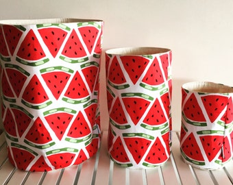 Watermelon fabric basket set, 3 different sized storage basket, toy storage basket, storage bin, nursery storage, round fabric basket