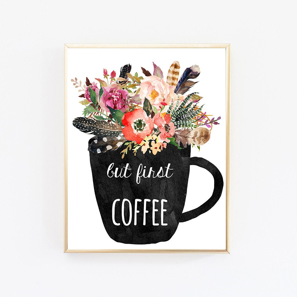 But First Coffee Print Dorm Wall Art Downloadable Prints