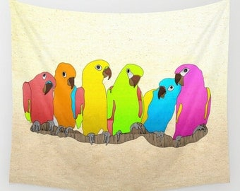 Wall Tapestry. Parrot Family. Tapestries. Wall Decor. Home Decor. Wall Art. Graphic Design